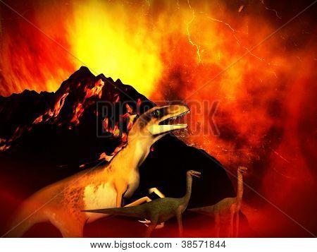 The dinosaur doomsday - fantasy illustration