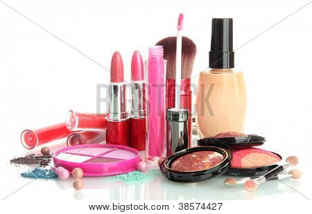 beautiful decorative cosmetics, isolated on white