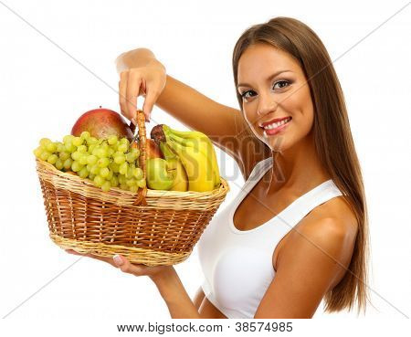 beautiful young woman with fruits in basket, isolated on white