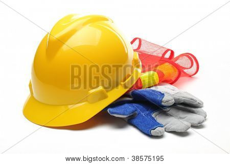 Safety gear Kit, isolated on White.
