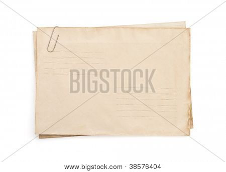 old vintage envelope isolated on white background