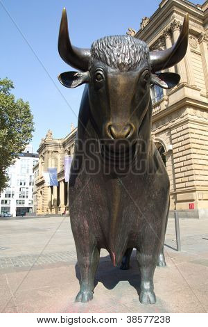 FRANKFURT, GERMANY - AUG 22: The Bull Statue at the Frankfurt Stock Exchange on August 22, 2012 in Frankfurt, Germany. The Frankfurt Stock Exchange has more than 4,500 traders.