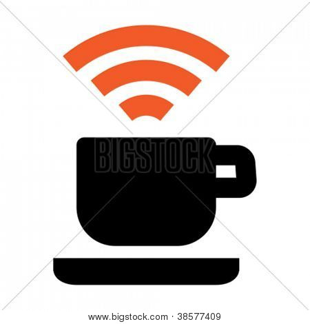 Free Wi-Fi zone icon: cup with wireless signal