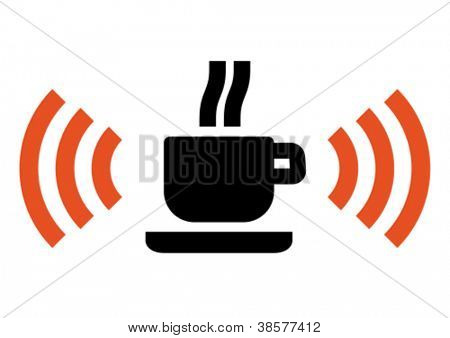 Hot cup with Wi-Fi wireless signal