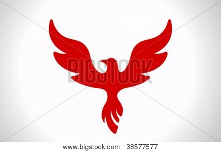 Flying Bird logo abstract. Luxury style icon. Phoenix.