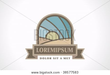 Agricultural logo. Vintage icon.  Sun over fields concept.  Vector. Editable.