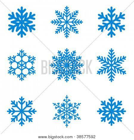 Coleção de ícone de flocos de neve. Forma de vetor.