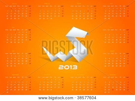 2013 Origami Calendar. Year of snake template. Vector. Editable.