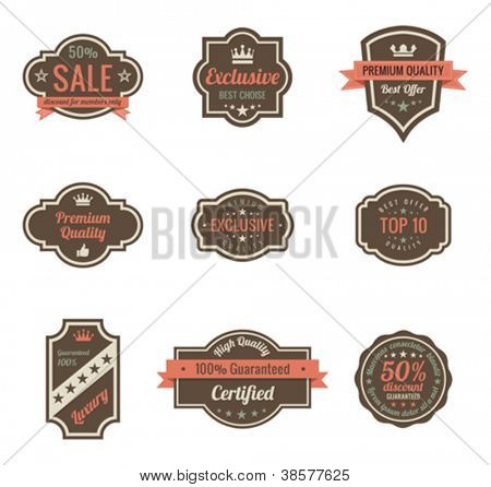 Vintage Labels set. Retro shields and stickers such a logo.  Ribbon and crown. Retro design. High quality.