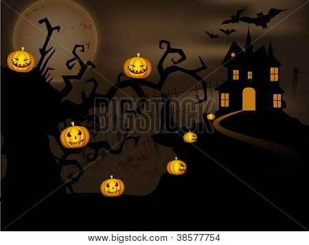 Scary Halloween night background with haunted house, dead trees and hanging pumpkins.. EPS 10.