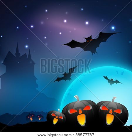 Halloween full moon night background with scary pumpkins, flying bats and haunted house. EPS 10.