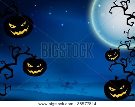 Halloween moon light night background with scary hanging pumpkins. EPS 10.