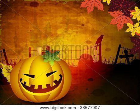 Scary Halloween pumpkin on autumn leafs background. EPS 10.