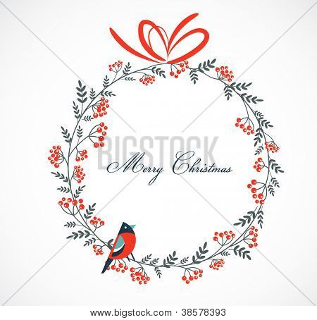Christmas wreath with birds and ashberry