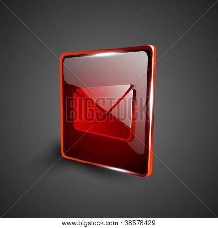 Glossy red 3D web 2.0 message symbol icon set. EPS 10