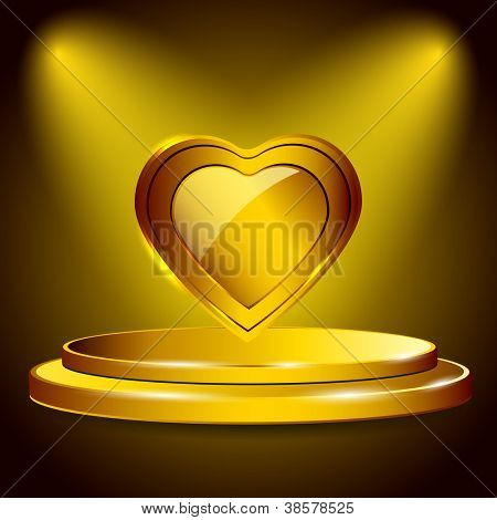 Glossy golden heart with ribbon. EPS 10