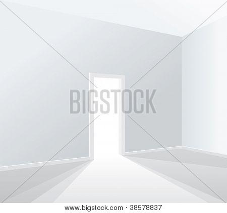 leere weiße Zimmer mit geöffnete Tür