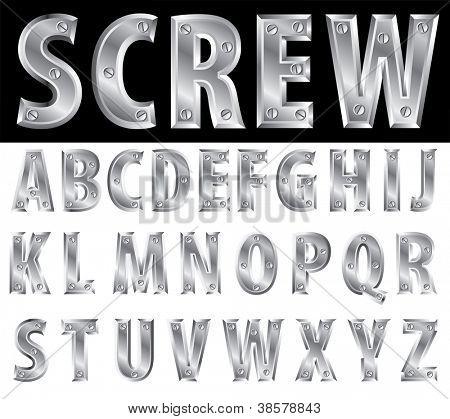 metal alphabet with screws
