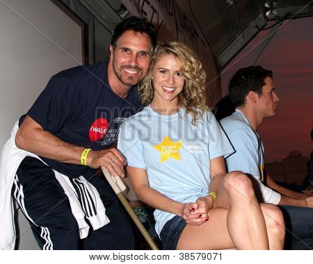 LOS ANGELES - OCT 6:  Don Diamont, Linsey Godfrey attend the Light The Night Walk at Sunset Gower Studios on October 6, 2012 in Los Angeles, CA