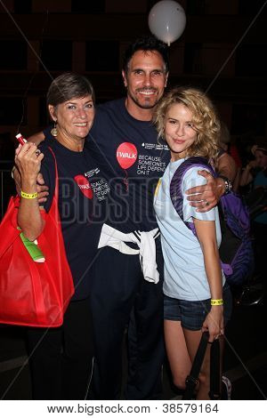 LOS ANGELES - OCT 6:  Char Griggs, Don Diamont, Linsey Godfrey attend the Light The Night Walk at Sunset Gower Studios on October 6, 2012 in Los Angeles, CA