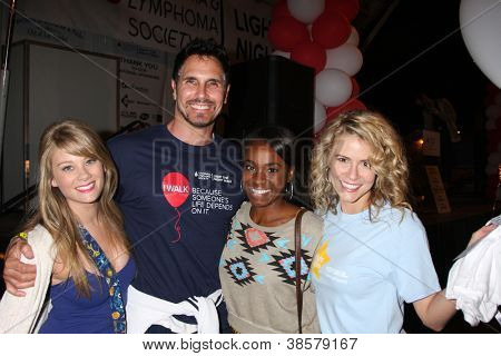 LOS ANGELES - OCT 6:  Don Diamont, Kim Matula, Kristolyn Lloyd, Linsey Godfrey attend the Light The Night Walk at Sunset Gower Studios on October 6, 2012 in Los Angeles, CA