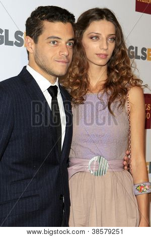 LOS ANGELES - OCT 5:  Rami Malek, Angela Sarafyan arrives at the 8th Annual GLSEN Respect Awards at Beverly Hills Hotel on October 5, 2012 in Beverly Hills, CA