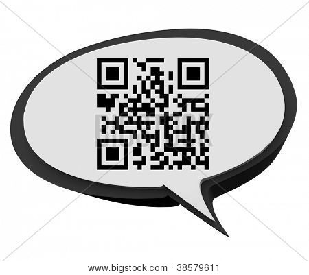 A QR code in a speech bubble for you to scan and get information on a product or service
