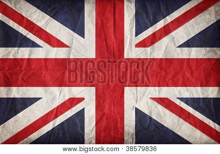 Union Jack sobre papel arrugado. Efecto Vintage