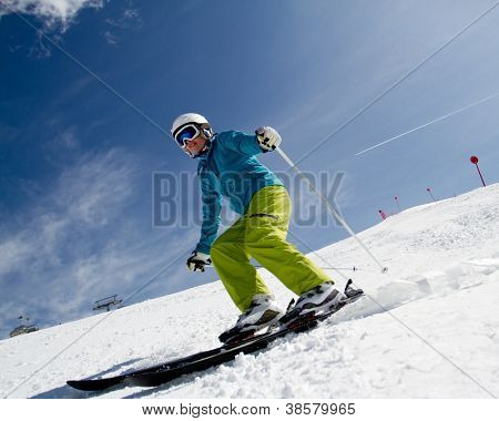 Skiing - woman skiing downhill