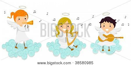 Illustration of Little Angels Singing While Playing Musical Instruments