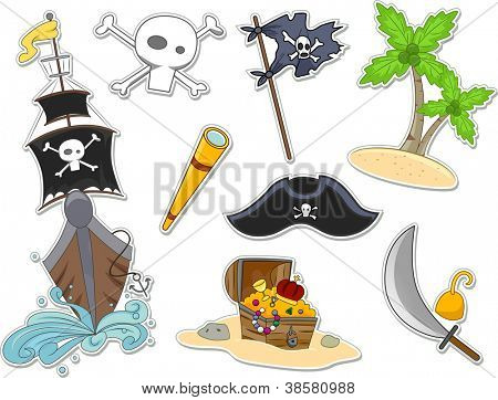 Illustration of Pirate-Related Items That Can be Printed Out as Stickers