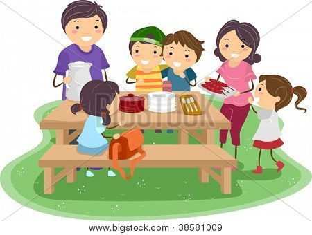 Illustration of a Family Having a Picnic