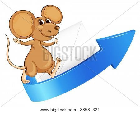 illustration of a mouse, arrow and envelop on a white background