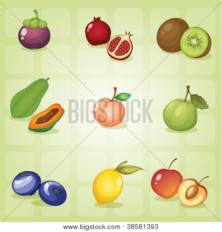 illustration of various fruits on a green shade background