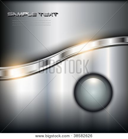 Metallic shiny background with glossy button, vector.