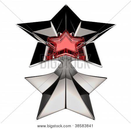 brilhante estrela de prata com núcleo estrela vermelha