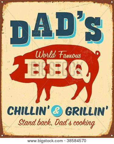Vintage metal sign - Dad's BBQ - JPG Version