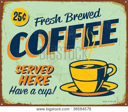 Vintage metal sign - Fresh Brewed Coffee - JPG Version
