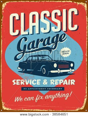 Vintage Metall sign - Classic Garage - JPG Version