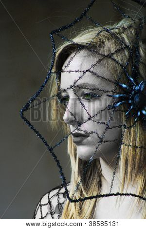 Woman with spider web