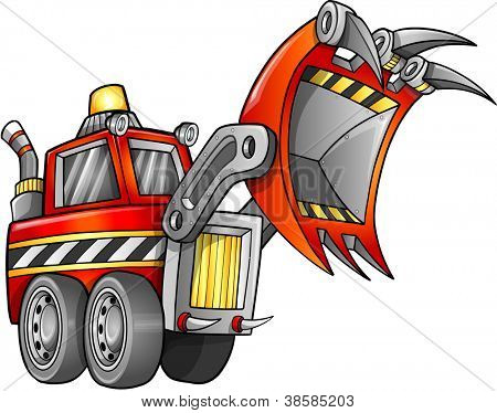 Apocalyptic Digger Front Loader Vehicle Vector