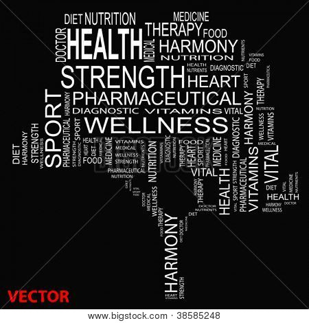 Vector eps concept or conceptual white text wordcloud or tagcloud as a tree isolated on white background as metaphor for health,nutrition,diet,wellness,body,energyf,medical,sport,heart or science