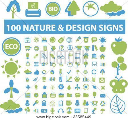 naturaleza los iconos set, vector