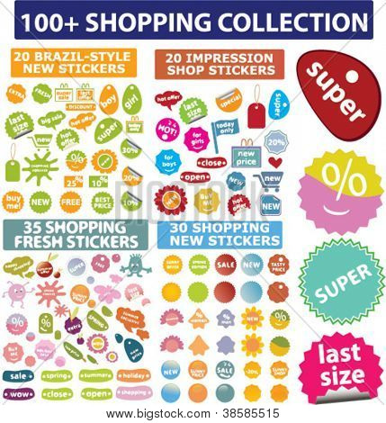 100 shopping sales icons & labels set, vector