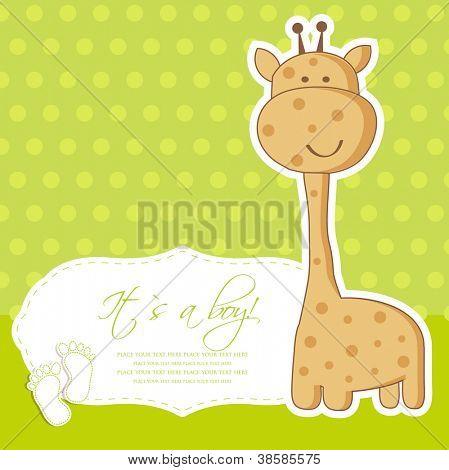 Cartão de chuveiro bebê menino com girafa bonito