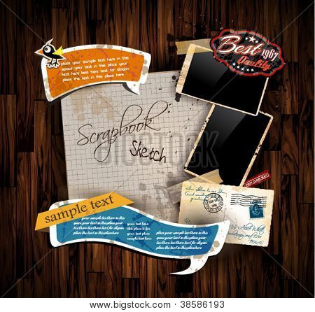 Vintage scrapbook composition with old style distressed postage design elements and antique photo frames plus some post stickers. Background is wood.