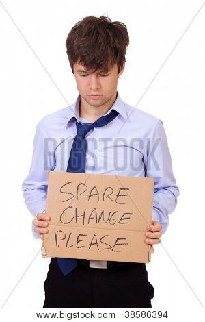 Depressed young businessman holding a cardboard and asking about money, isolated on white background