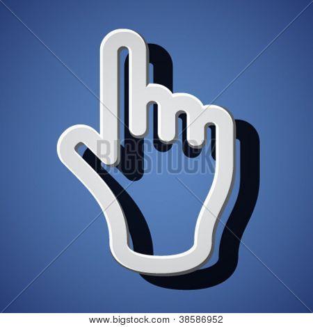 Vector mano con símbolos de índice de advertencia