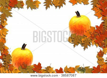 Tiered Pumpkins Leaves Bordered Background