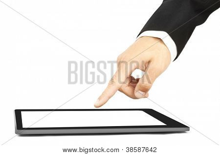 Man's hand touch a tablet  like  Ipade